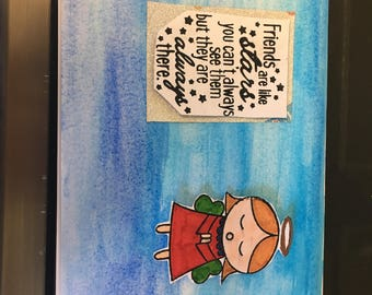 Angels watercoloured sentiments greeting card