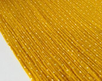 0, 5m Mousselin double gauze cotton gauze points ochre mustard yellow ocre
