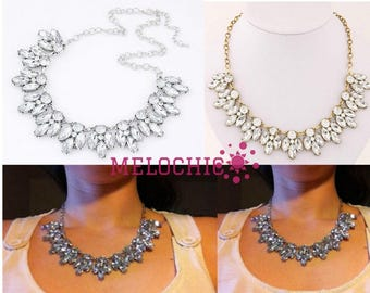 Melochic Statement Necklace Crystal Statement Necklace Gold Crystal Statement Necklace Bib Necklace Wedding BRIDESMAIDS Prom chunky necklace