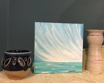 "Original Handpainted Landscape Painting on Mini 6""x6""x1.5"" Wrapped Canvas"