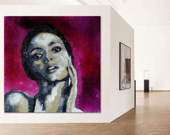 Portrait black & white XXL purple exclusive gallery art woman face eyes painting original unique modern art figurative