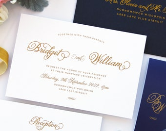 Bridget Navy and Gold Calligraphy Wedding Invitation Sets, Invitation Set Template or Printed Invitation Sets Customised in any Colour