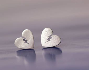 Broken heart earrings, silver heart errings, sterling silver earrings