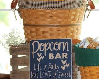Popcorn Bar wood sign