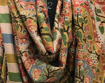 Kalamkari Pure Pashmina Shawl, Hand Painted & Hand Embroidered Kashmir Shawl, Pure Cashmere Scarf, Kalamkari Scarf, Kashmiri Hand Sozni Work