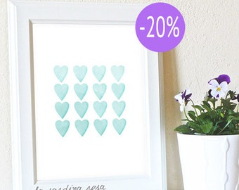 SALE Aqua nursery wall art, Gender neutral baby decor, nursery print, watercolor hearts print, printable  #0003A