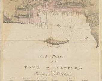 1776 Map of the Town of Newport Rhode Island