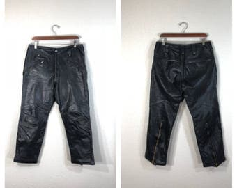 70's vintage black leather motorcycle pants talon zipper size w33