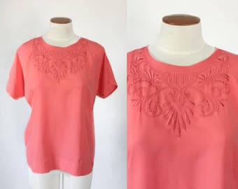 Vintage 1980s does 1940s coral embroidered oversized dolman boxy blouse / 80s dressy top / medium M