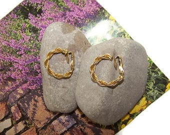 Birks Gold Filled Twisted Rope Chain Clip Earrings 1/20 12 K, Gift for her, Gold Hoops, Birks, Vintage Earrings