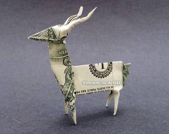 DEER Money Origami Dollar Bill Animal Cash Sculptors Bank Note Handmade Dinero