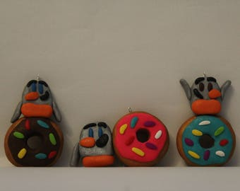Ornament= Penguin with Donut -Polymer Clay-