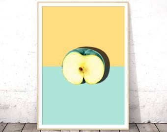 Fruit Wall Print, Modern Kitchen Art, Apple Print, Pastel Wall Print, Kitchen Printable Decor, Kitchen Poster, Printable Instant Download