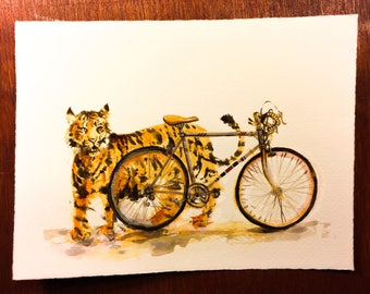 Tiger with Bicycle — Original Acrylic Painting