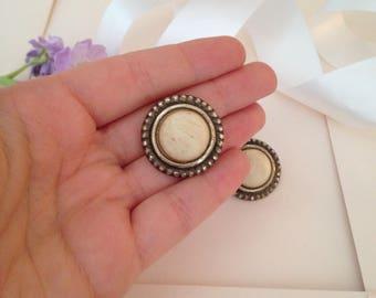 Clip on Earrings - Large Earrings - Vintage Earrings - 1940s Earrings - Cream Earrings - Aesthetic Jewelry - Antique Earrings - Wife Gift