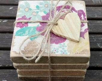 Hand Crafted Reclaimed Wood Shabby Chic Vintage Style Decoupage Coasters Gift