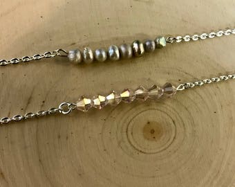 Silver Beaded Bar Necklace