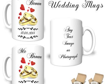Pair Mr Mrs Personalised Bride Groom WEDDING MUGS Text Image Photograph