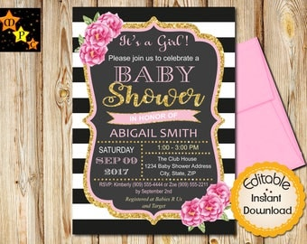 Baby Shower Invitation Girl, Girl Baby Shower, Pink and Gold Baby Shower Invite, Shabby Chic Flowers, Floral, Editable, Instant Download DIY