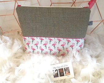 Personalized toiletry bag in linen and faux leather pink Flamingo theme