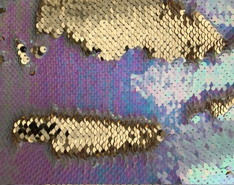 Mermaid Shiny 5mm Pink Iridescent/Gold NewTwo Tone Flip up sequins/Reversible Sequins Fabric by the yard