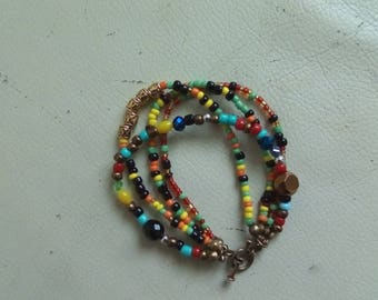 Bracelet four ranks with multi color beads