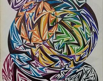 Original Abstract Drawing, Abstract Art, Pen art, Geometric Shape, Geometric Art