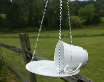 Upcycled White Floral Tea Cup Bird Feeder