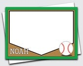 Baseball Stationary for Boys / Sports Note Cards / Personalized Thank You Notes / Kids Stationery Set / Blank Notecards (Item #1702-011FL)