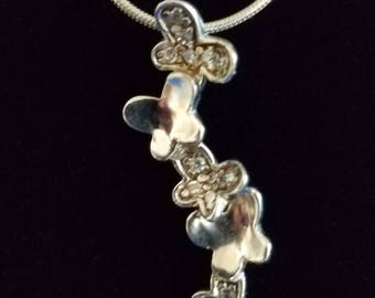CP010 Vintage Sterling Silver Necklace with Sterling Silver Butterfly Pendant