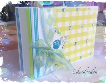 "Guest book or photo album ""Ladybug"" lime green and blue personalized name and date"