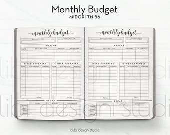 B6 TN, Monthly Budget, Travelers Notebook, Budget Planner, Income Tracker, Expense Tracker, TN Inserts, Midori, Bullet Journal