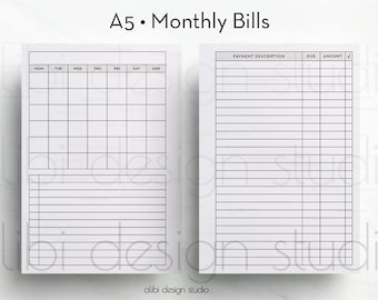 Bill Tracker, A5 Planner, Monthly Planner, Finance Planner, A5 Inserts, Printable Planner, Monthly Bill Tracker, Bill Planner, Bills