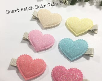 Baby Hair Clips, Heart Hair Clips, Hair Clips set of 6, Toddler Hair Clips, Hair bows, Girls hair clip set, Alligator Clips