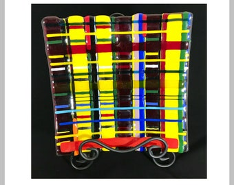Glass Fused Multi-colored Plaid Serving Platter