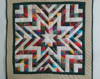 Quilted Star Wall Hanging, Scrappy Quilt, Square Table Topper, Patchwork