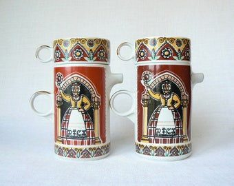 COFFEE Set Vintage/ Porcelain Coffee Pot & Cup/ Vintage Coffee Serving/ Ethnic Latvian Decal/ Latvia 1980s