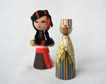 Wooden DOLL Vintage/ Small Wooden Doll/ Girl in National Costume/ Georgian & Latvian Ethnic Style Doll/ USSR 1970s