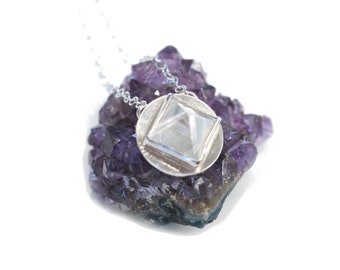 Sterling Silver Circular Necklace with a Quartz Crystal PYRAMID Gemstone. FREE US Standard Shipping.