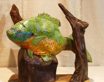 Fish Sculpture, Wood Sculpture, Fishing, Reclaimed Wood Art, Handcrafted