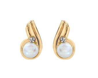 4mm Fresh Water Pearl Stud Earrings 14K Yellow Gold