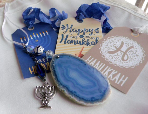 Hanukkah ornament -  window - agate gem holiday gift - teal blue stone-  menorah charm  decor - bat - bat Mitzvah favors - large geode slice