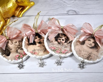 Shabby Chic Christmas Ornaments Wooden Christmas Ornaments Joyeux Noel Christmas Decorations French Romantic Holiday Decor