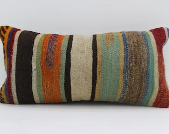 12x24 Pillow Cover Multicolor Kilim Pillow Throw Pillow 12x24 Lumbar Pillow Striped Kilim Pillow Ethnic Pillow Cushion Cover  SP3060-1680