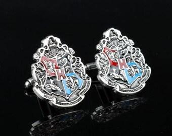 Harry Potter Hogwarts Shield Cufflink -B158  - Free Gift Box
