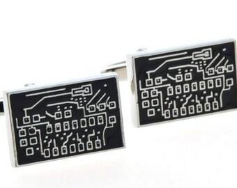 Circuit Cufflinks -k147 Free Gift Box.