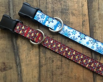 Holiday Dog Collars, winter dog collars, snowflake dog collar, christmas dog collar, festive dog collar, sew fetch dog collar