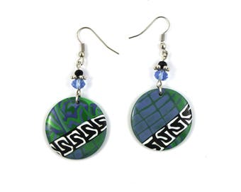 Molded polymer clay earrings unique blue-green asymmetrical handmade - gift for her - women gift