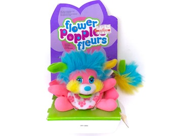 NIB Vintage Popples Flower Honeysuckle Punk Blue Plush FRENCH CANADIAN Bilingual Francais English 80s New In Box Never Opened Kawaii 1980s