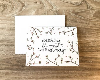 Merry Christmas Card | Greeting Card | Holiday Card | | Xmas Card | A2 Card | Christmas Holly Card | Simple Christmas Card | Christmas Card